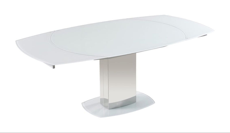 Torelli Olivia 130-190cm Swivel Extending White Glass Dining Table - ImagineX Furniture & Interiors
