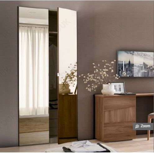 Storm Walnut Finish Italian 2 Door Mirror Wardrobe