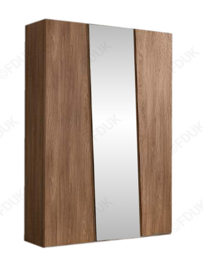 Storm Walnut Finish Italian 3 Door Mirror Wardrobe