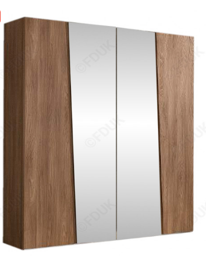 Storm Walnut Finish Italian 4 Door Mirror Wardrobe