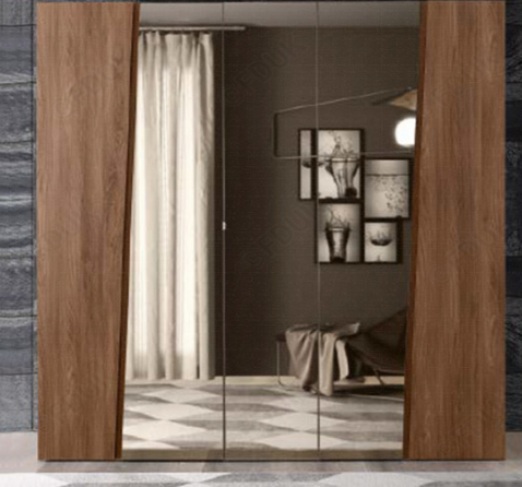 Storm Walnut Finish Italian 5 Door Mirror Wardrobe