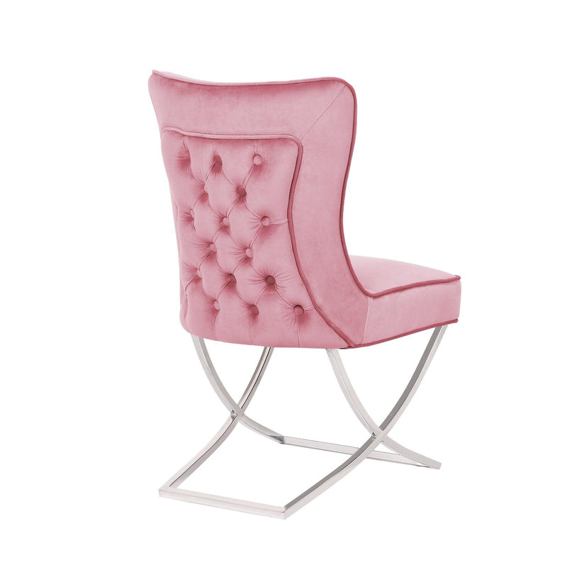 Venice Pink Buttoned Padded Back Plush Velvet Chair - ImagineX Furniture & Interiors