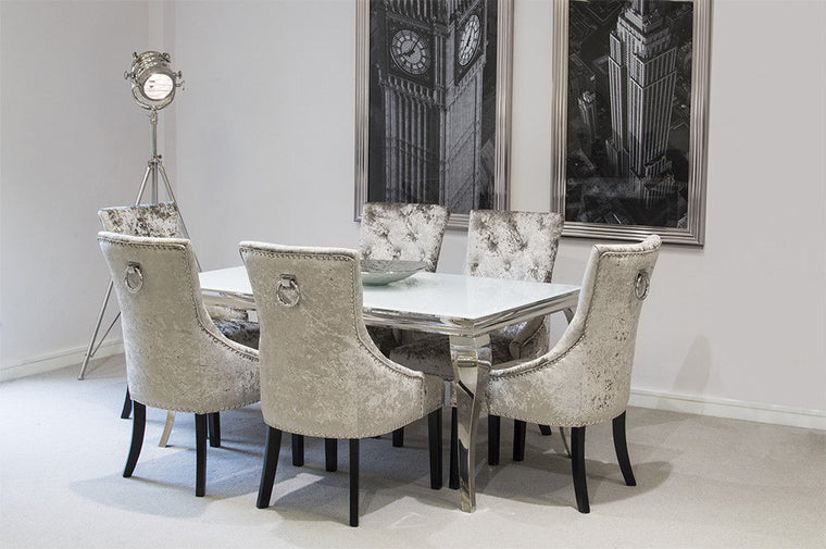 Louis 160cm White Glass Dining Table + Imperial Crushed Velvet Chairs