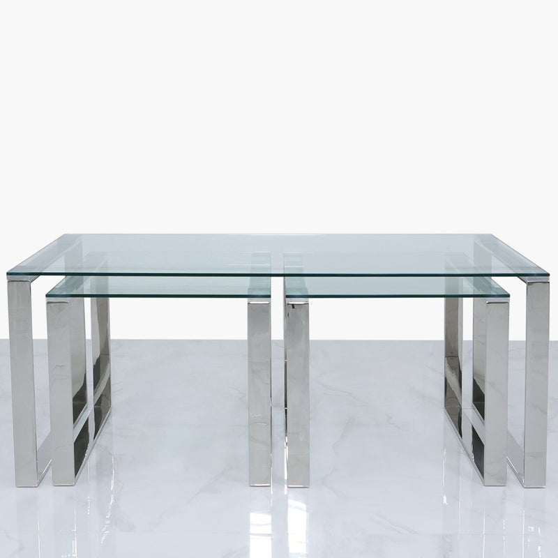 Lana Nest of 3 Tables - 1 Coffee and 2 End Tables - Chrome - Modern Home Interiors