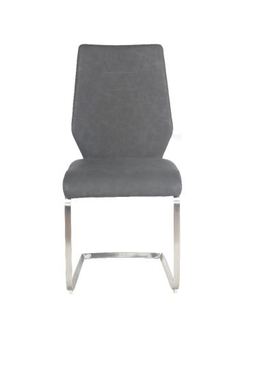 Agata Grey Leather Dining Chair - ImagineX Furniture & Interiors