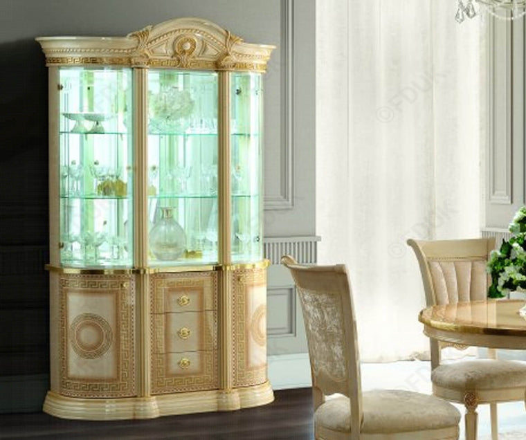 Aida Ivory and Gold Italian 3 Door Display Cabinet