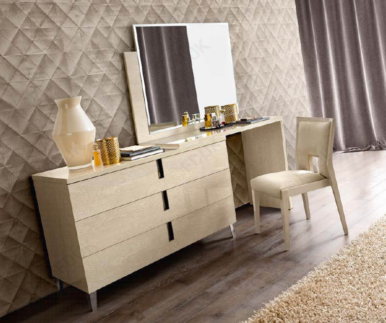Ambra Sand Birch Finish Italian Single Large Vanity Dresser Set