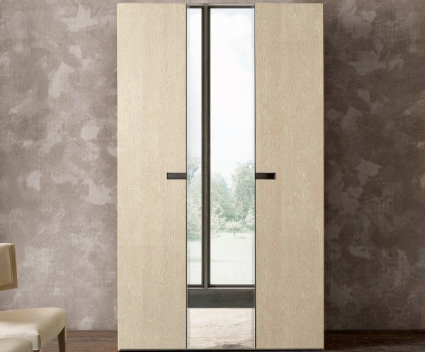 Ambra Sand Birch Finish Italian 3 Door Mirror Wardrobe - ImagineX Furniture & Interiors