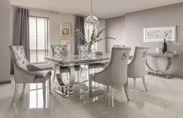 Arianna 180cm Grey Marble & Chrome `O` Dining Table + 4 Belle Pewter Velvet Chairs