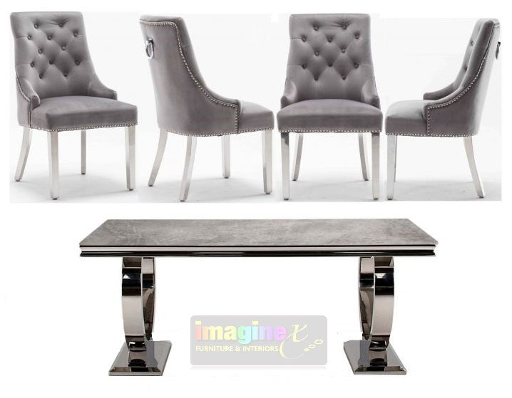 Arianna Grey Marble 180CM Dining Table and Knightsbridge Plush Velvet Dining Chairs - ImagineX Furniture & Interiors