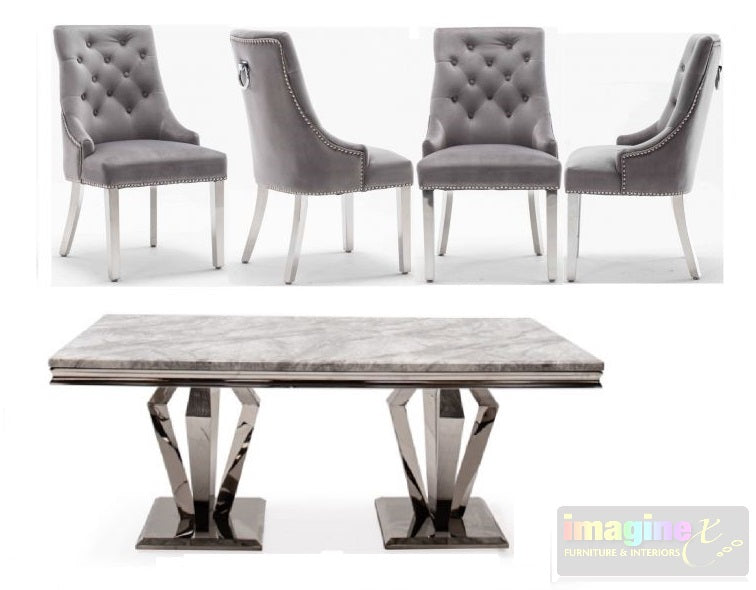 Arturo Grey Marble 180CM Dining Table and Knightsbridge Plush Velvet Dining Chairs - ImagineX Furniture & Interiors