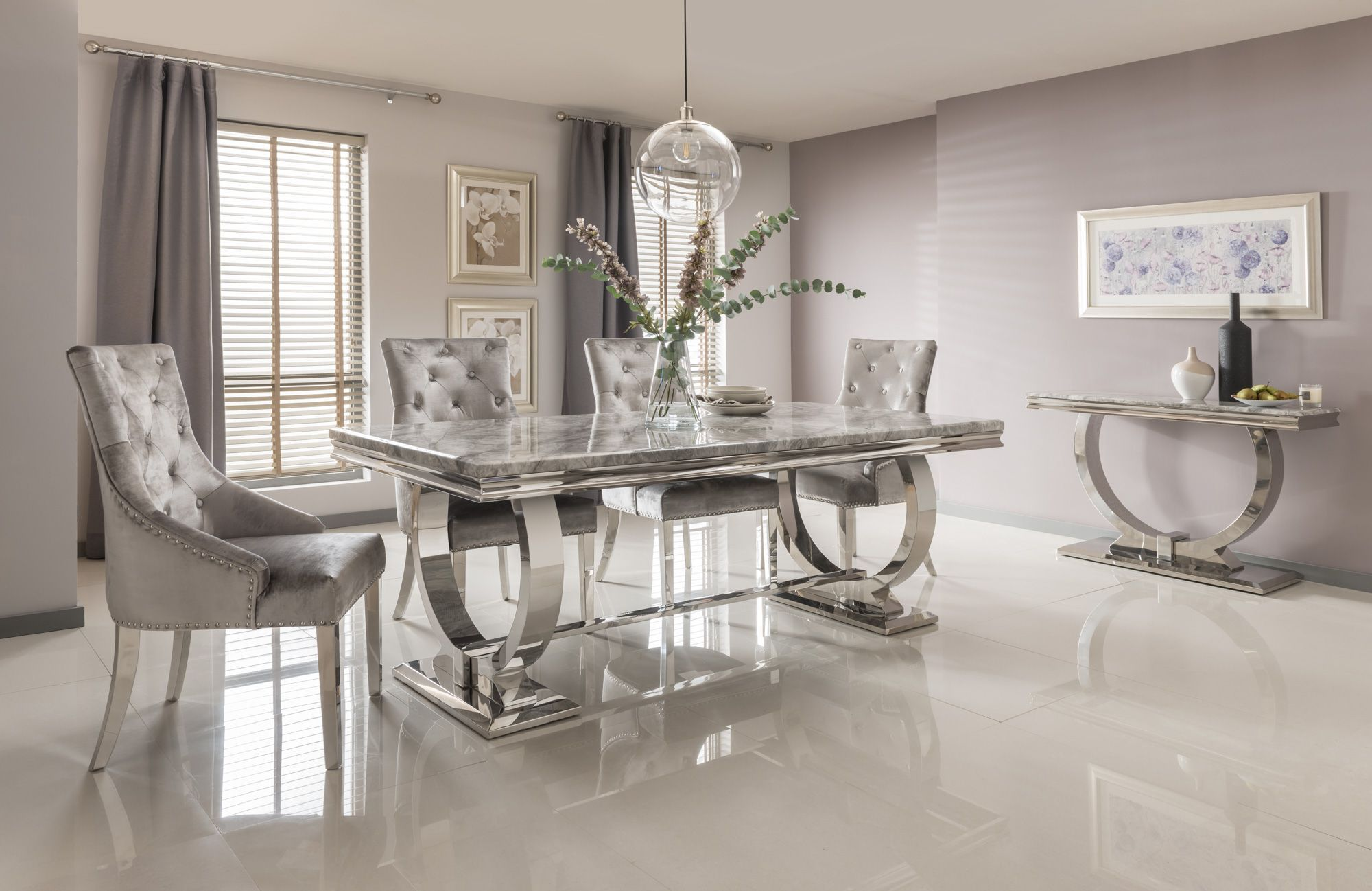 Arianna Grey Marble & Chrome `O` 200cm Dining Table + Belle Velvet Dining Chairs + Bench
