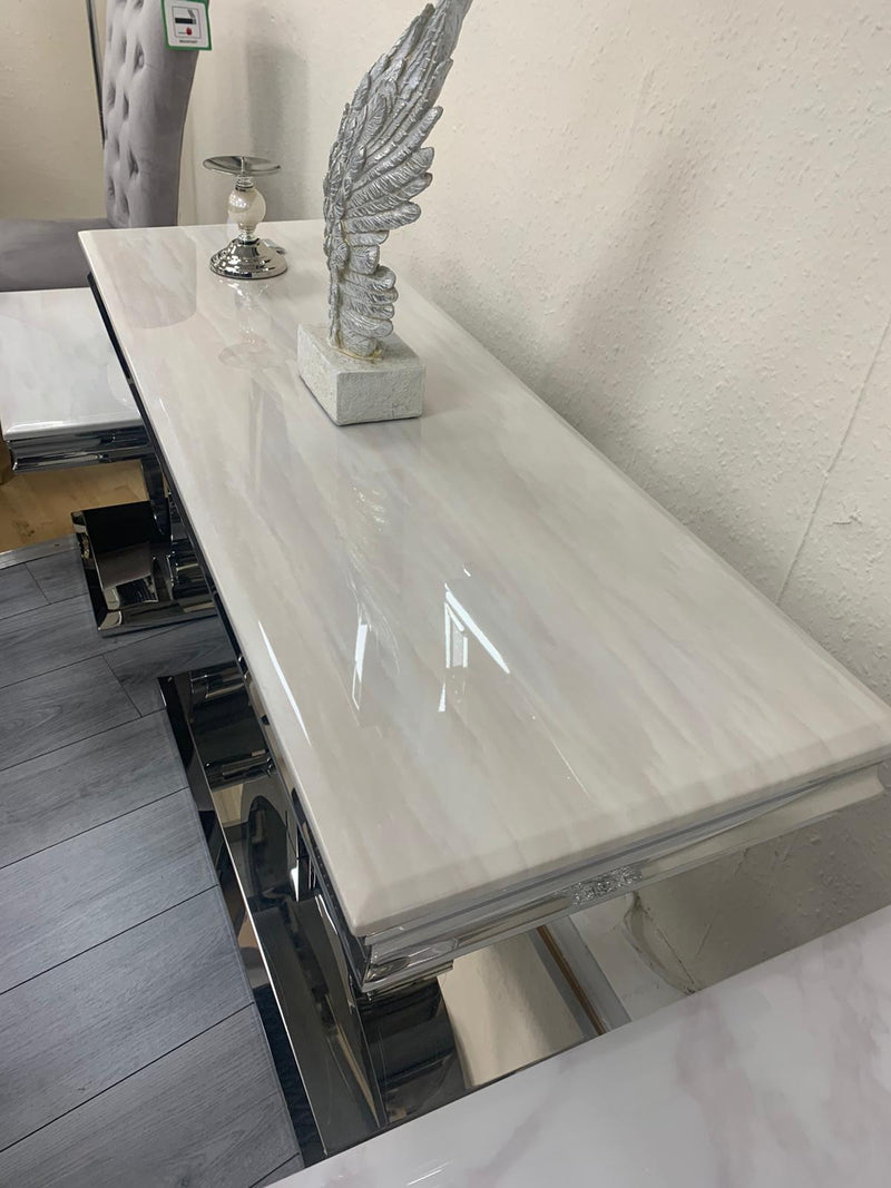 Arturo Cream Marble & Chrome Console Table