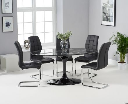 Brittney 160cm Oval Black Marble Effect Dining Table - ImagineX Furniture & Interiors
