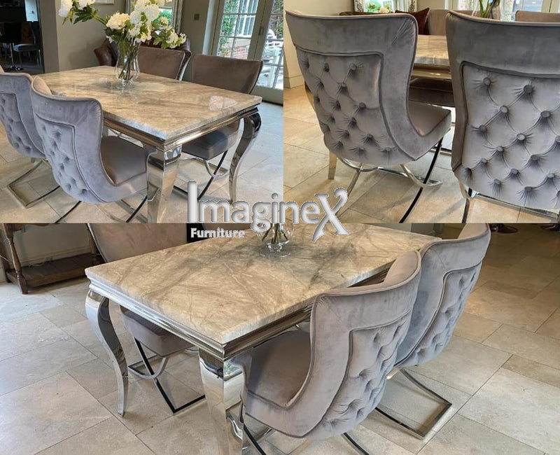 Louis 120cm Grey Marble Dining Table + Belgravia Light Grey Plush Velvet Button Dining Chairs