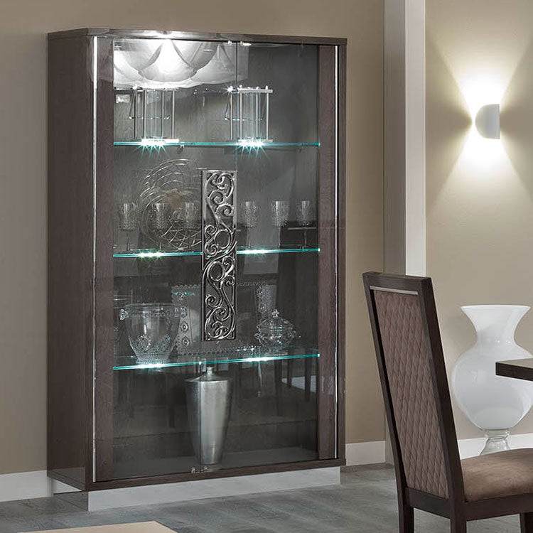 Platinum Day Glamour Italian Glass Cabinet - 2 Door - LED Lights - ImagineX Furniture & Interiors