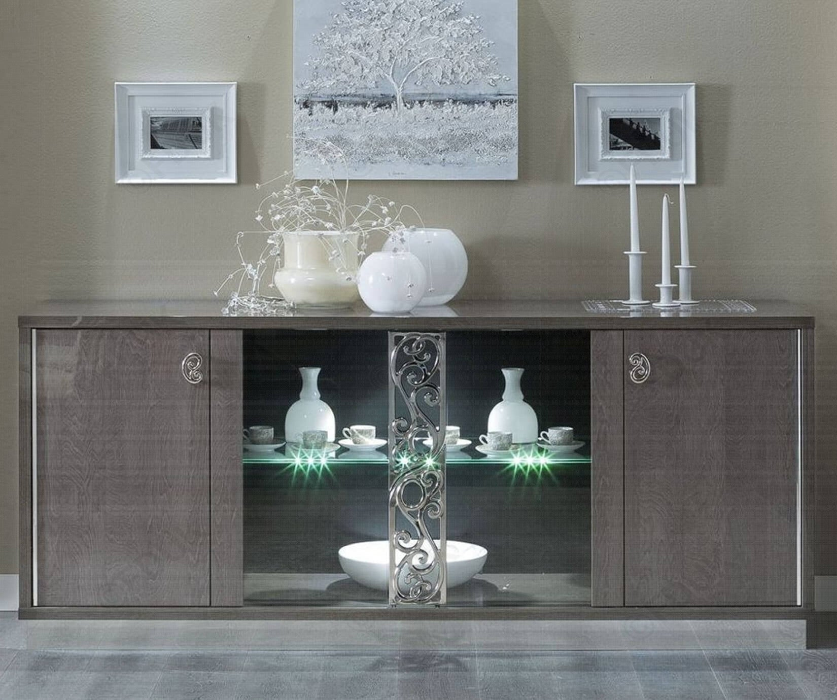 Platinum Day Glamour Italian High Gloss Buffet Vitrine with Glass Door - ImagineX Furniture & Interiors