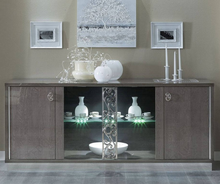 Platinum Day Glamour Italian High Gloss Buffet Vitrine with Glass Door