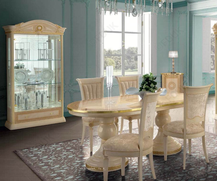 Aida Ivory and Gold Oval Extension Italian Dining Table + 4 Chairs