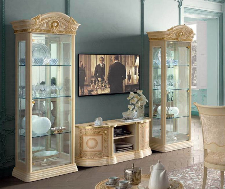 Aida Ivory and Gold Italian Mini TV Cabinet