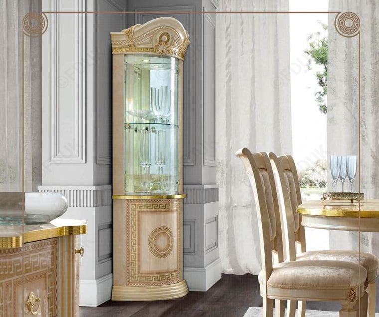 Aida Ivory and Gold Italian 1 Door Corner Unit