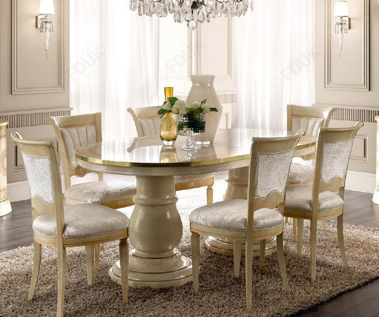 Aida Ivory and Gold Oval Extension Italian Dining Table + 6 Chairs