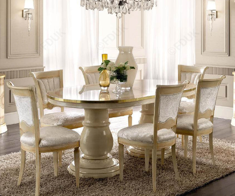 Aida Ivory and Gold Oval Extension Italian Dining Table + 6 Chairs - ImagineX Furniture & Interiors
