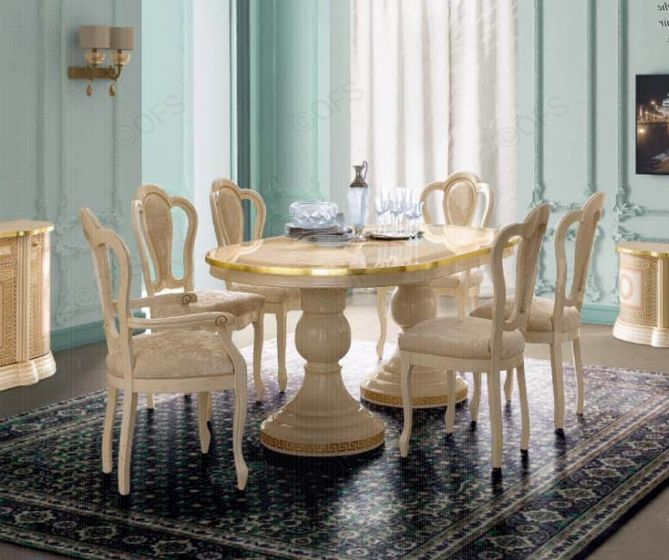 Aida Ivory and Gold Italian Round Extension Dining Table + 6 Michelangelo Chairs