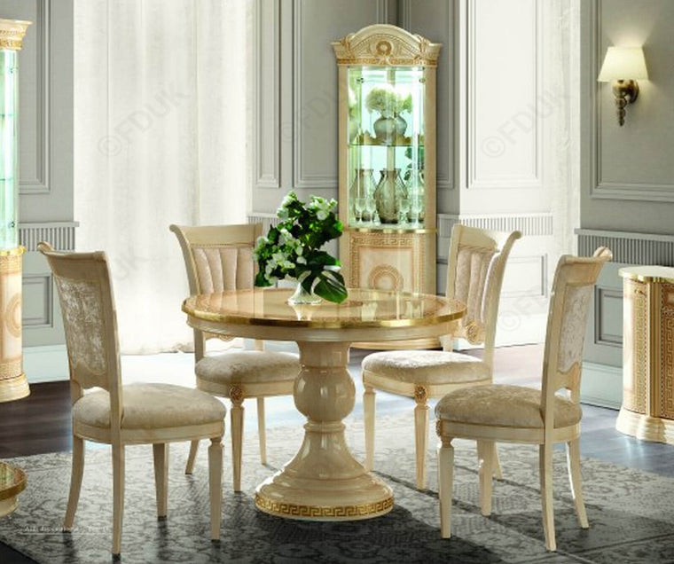 Aida Ivory and Gold Round Extension Italian Dining Table + 4 Chairs