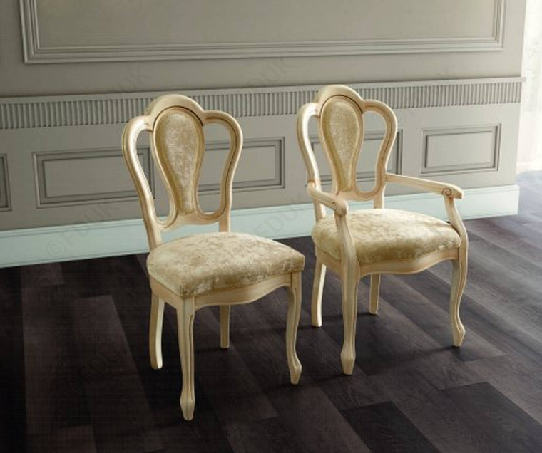 Aida Ivory and Gold Michelangelo Italian Dining Chair