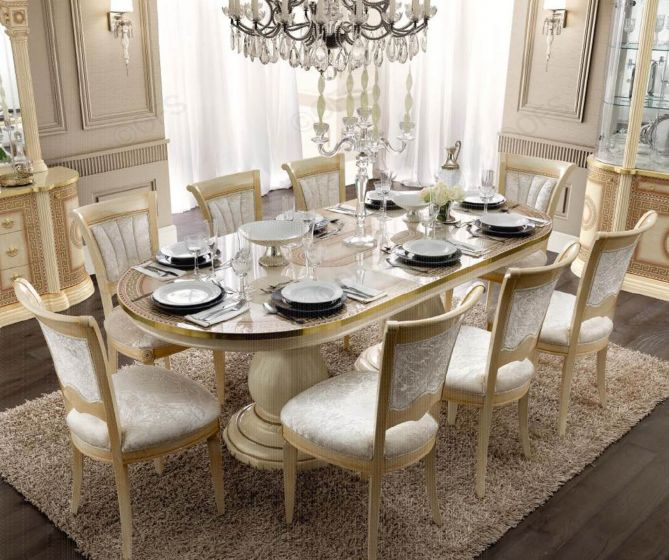 Aida Ivory and Gold Oval Extension Italian Dining Table + 8 Chairs