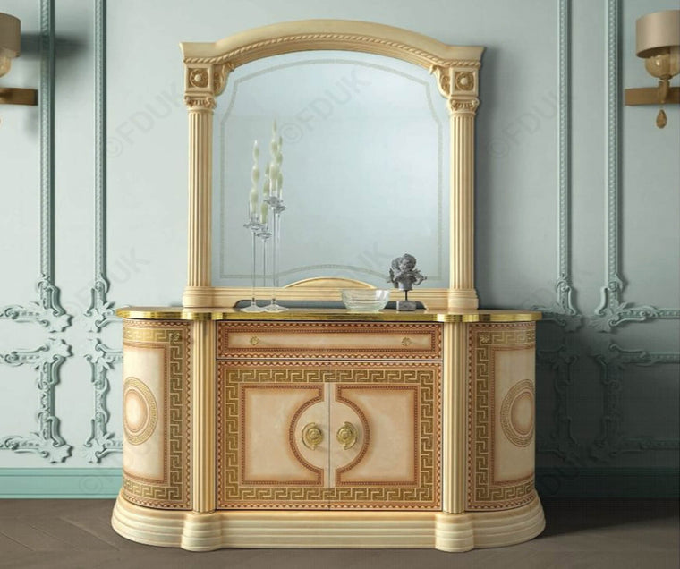 Aida Ivory and Gold Italian Large Mirror