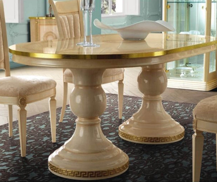 Aida Ivory and Gold Extension Oval Italian Dining Table Only