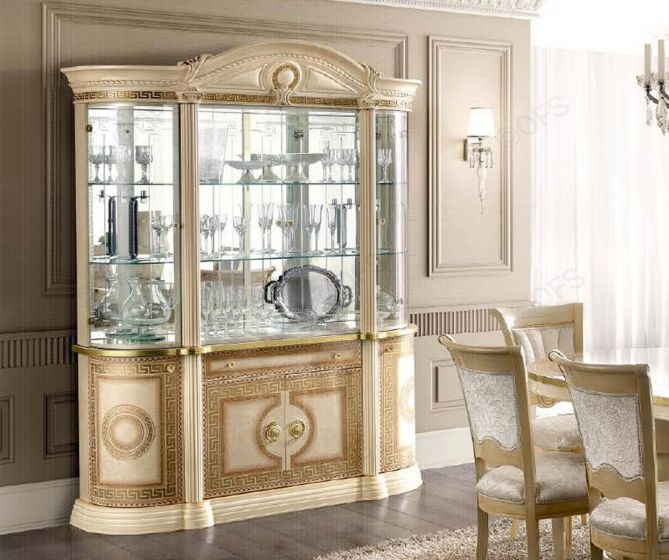 Aida Ivory and Gold Italian 4 Door Display Cabinet