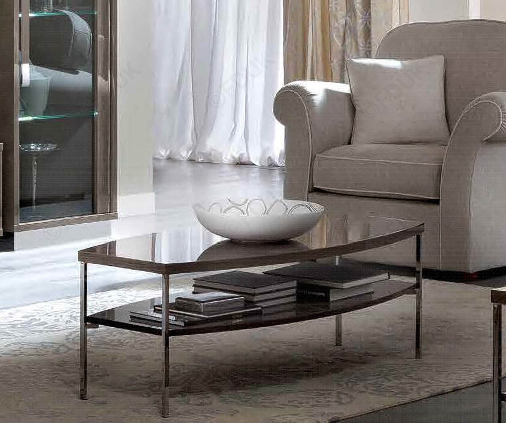 Platinum Day Italian Silver Birch High Gloss Coffee Table - ImagineX Furniture & Interiors