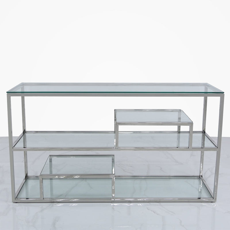 Lana Glass 3 Tier Console Table - Chrome - Modern Home Interiors