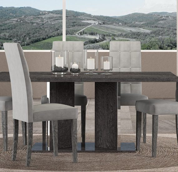 Sarah Grey Birch Italian Extending Dining Table + Chairs Set - ImagineX Furniture & Interiors