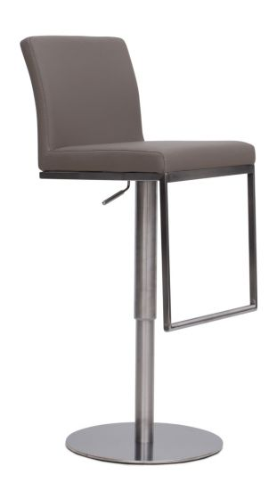 Enzo Taupe Leather Barstool