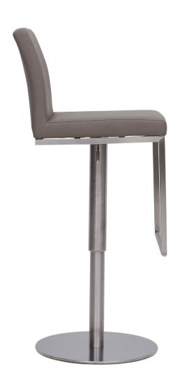 Enzo Taupe Leather Barstool - ImagineX Furniture & Interiors