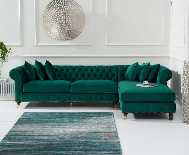 Fiona Green Velvet Right Facing Chesterfield Sofa