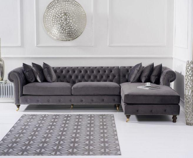 Fiona Grey Velvet Right Facing Chesterfield Sofa