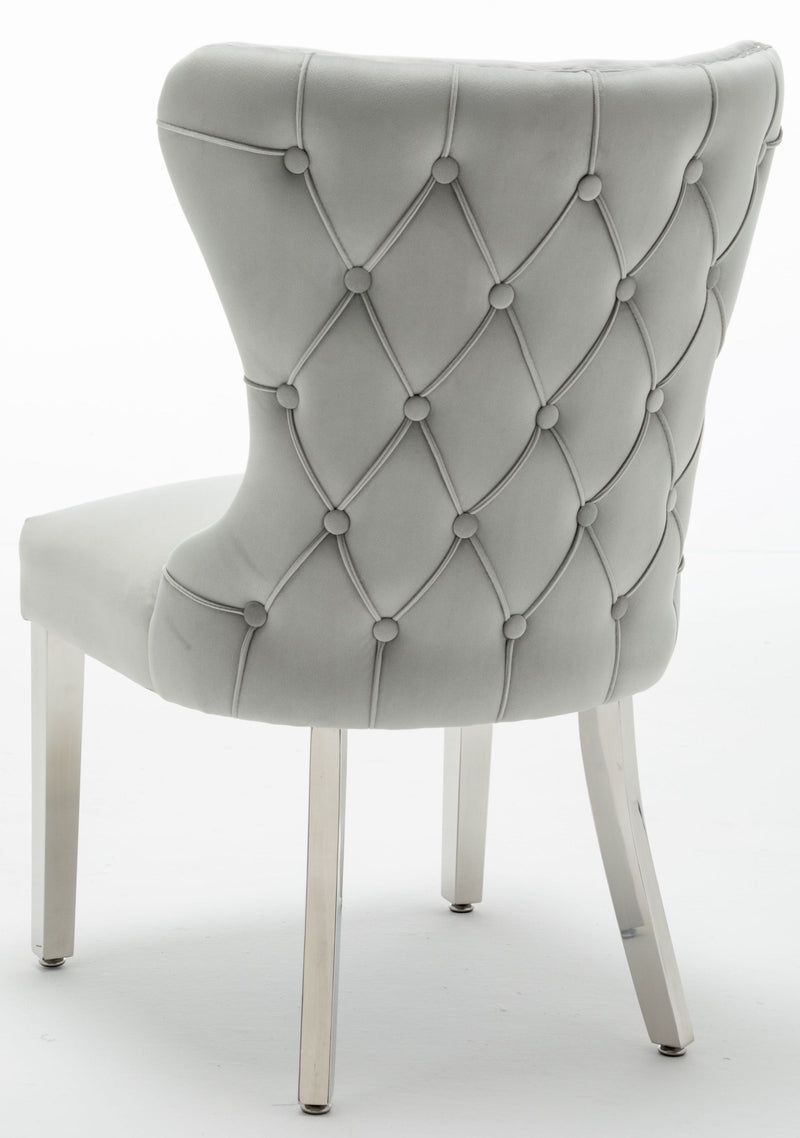 Florence Light Grey French Velvet Button Back Dining Chair With Chrome Legs - ImagineX Furniture & Interiors