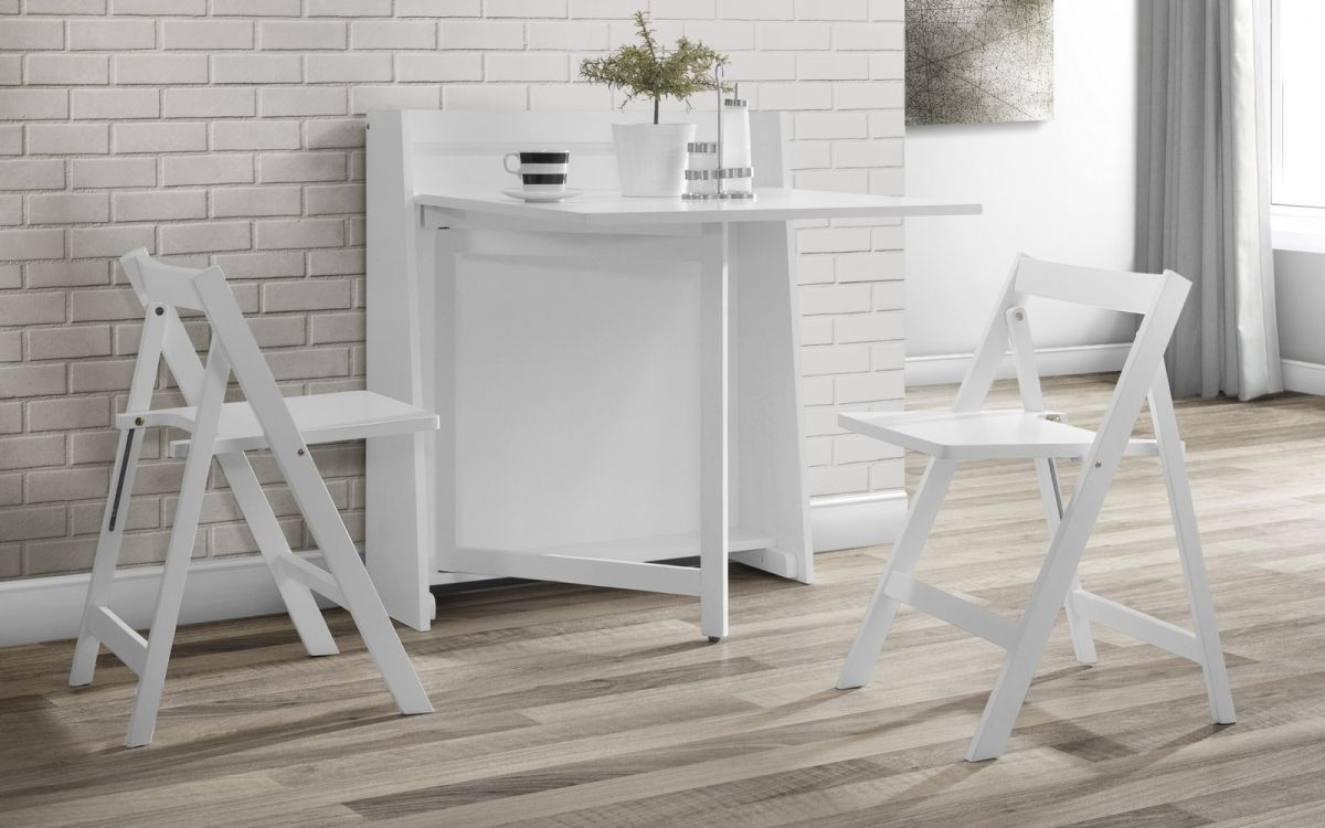 Julian Bowen Helsinki White Compact Dining Set - ImagineX Furniture & Interiors