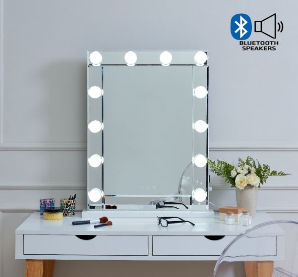 Desktop Hollywood Mirror Glass with Bluetooth Speaker - ImagineX Furniture & Interiors