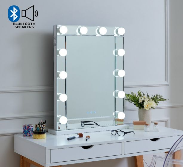 Desktop Hollywood Mirror Glass with Bluetooth Speaker