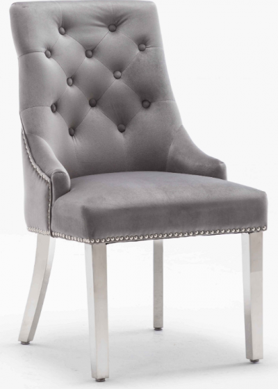 Arianna Grey 180CM Dining Table and Knightsbridge Plush Velvet Dining Chairs