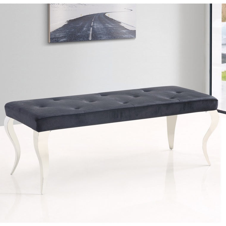 Liarra Black Plush Velvet Bench with Stainless Steel Legs