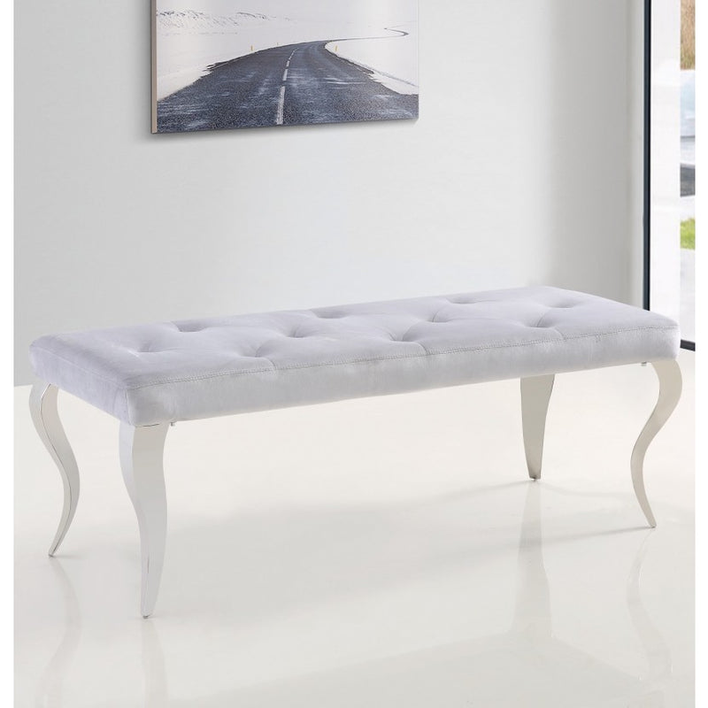 Liarra Grey Plush Velvet Bench with Stainless Steel Legs - ImagineX Furniture & Interiors