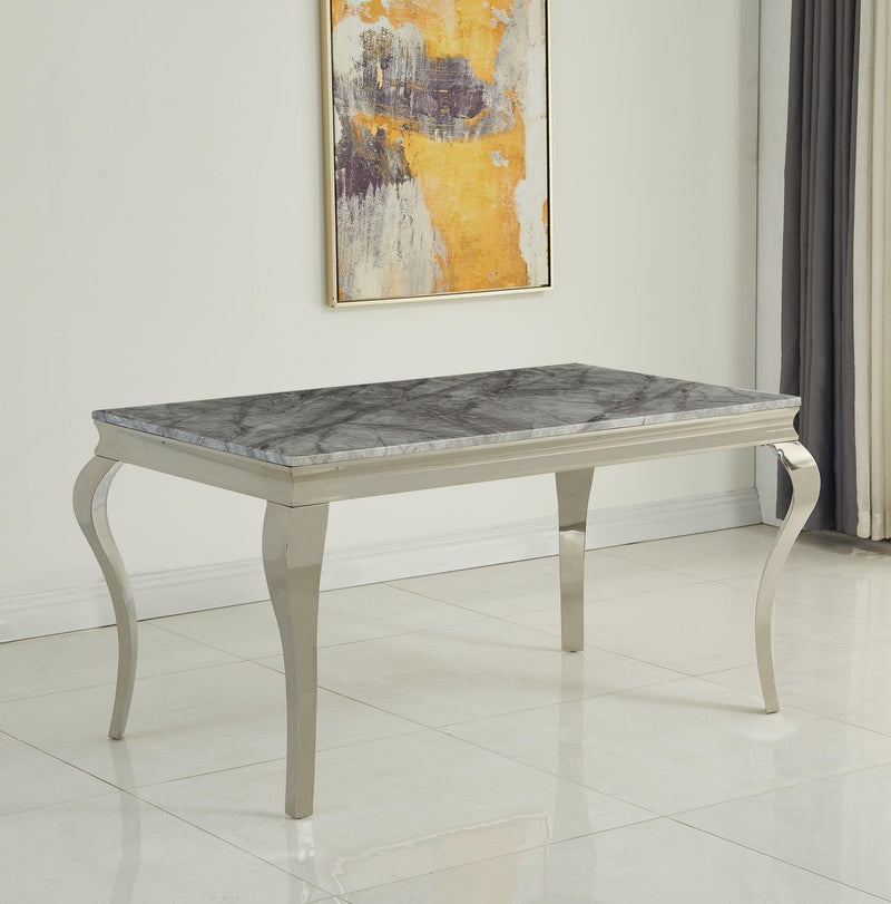 Louis 160cm Grey Marble Dining Table + Lion Knocker Plush Velvet Chairs + Bench - ImagineX Furniture & Interiors