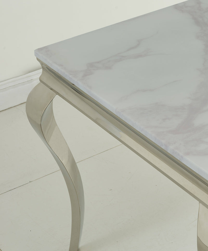 Liyana Louis 140cm White Marble Dining Table - ImagineX Furniture & Interiors